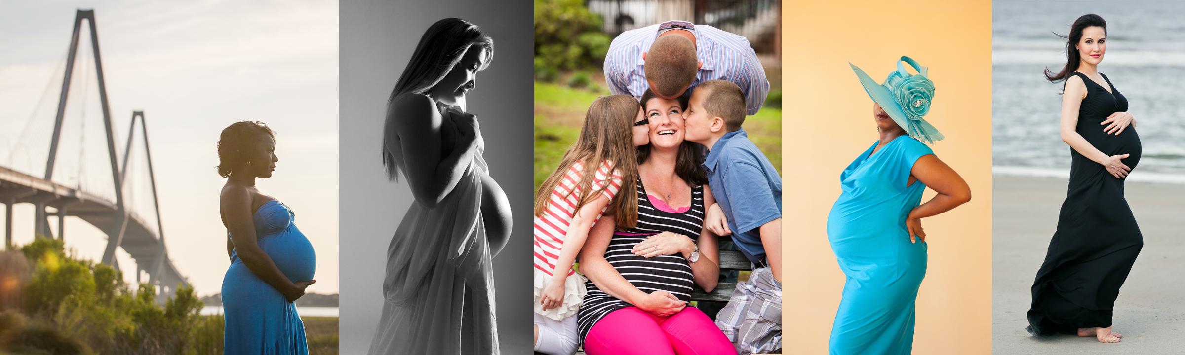 studio and on location maternity photoshoot