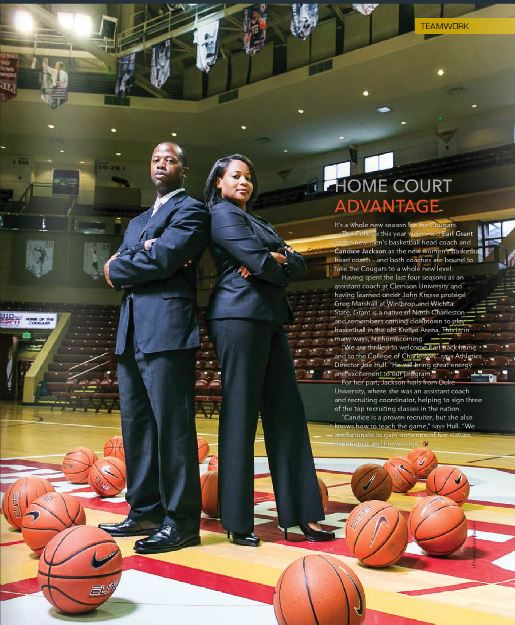 basket ball coach professional editorial portrait photographed by Diana Deaver for college of charleston magazine