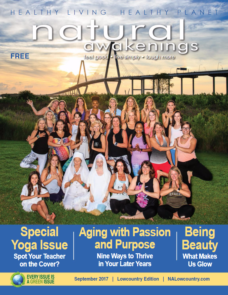 natural awakenings cover yoga group photo photographed by diana deaver of headshotlove.com