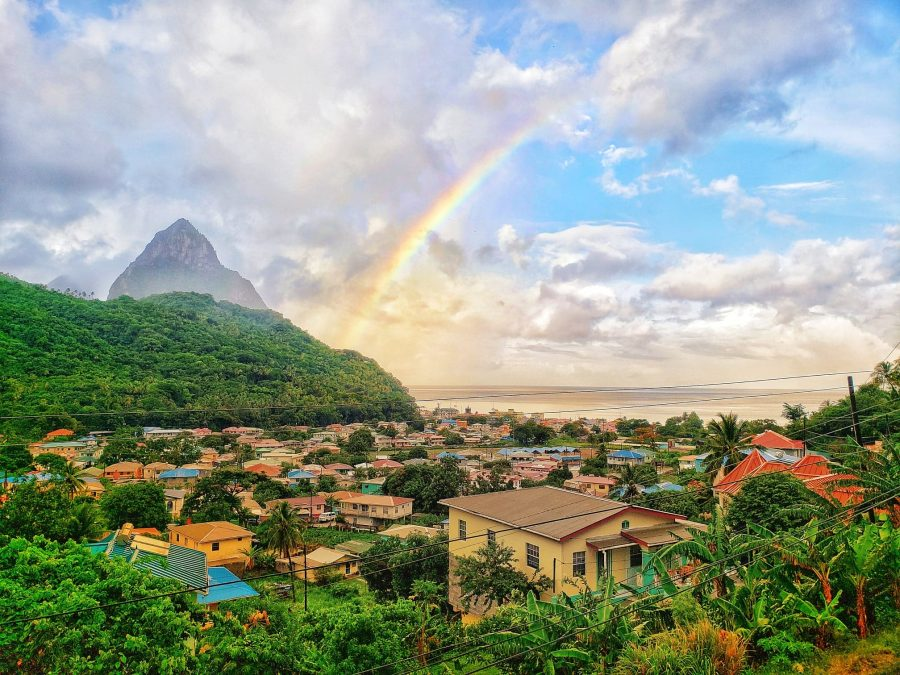 SOUFRIERE saint lucia city view with piton