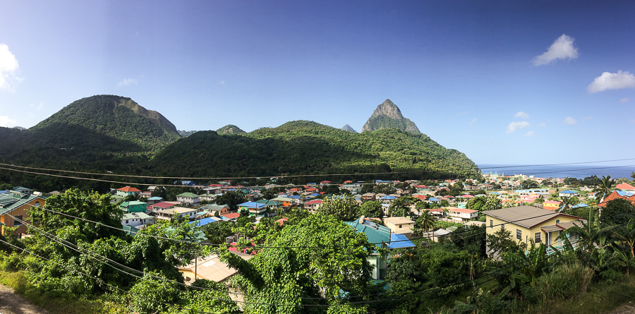 soufriere city st lucia panorama