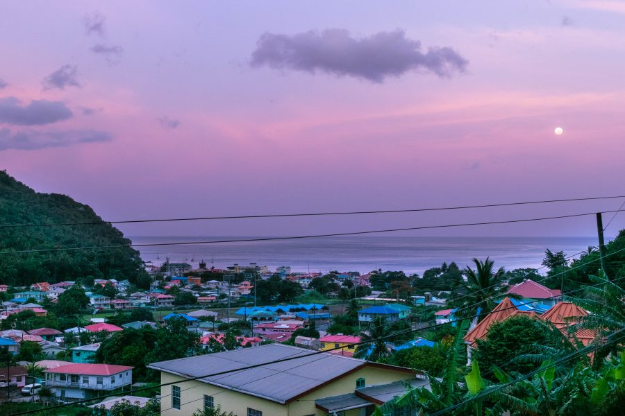 city of soufriere saint lucia evening city overlook landscape panorama