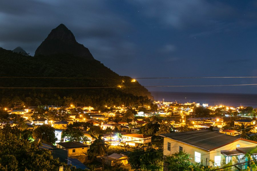 city of soufriere saint lucia evening city overlook lanscape panorama